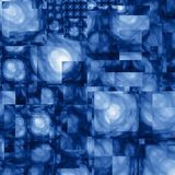 Abstract Cubist Fractal Blue Background. A fractal background composed of overlapping rectangles of abstract blurred shapes, each varying from dark blue to light Royalty Free Stock Images