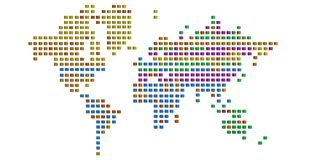Abstract cuboid world map isolated on white background 3D illust. Ration vector illustration