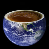 Abstract cup of coffee. Placed in the planet Earth. In the morning all that world need is cup of coffee Stock Images