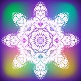 Abstract curl flower snowflake. Colorful abstract snowflake made of contours flowers and curls,  illustration Stock Photography