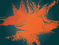 Abstract curled shape in shades of orange on black tones. Stock Photo