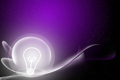 Abstract curve and bulb purple background Stock Photo