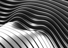 Abstract curve stripe metal background. 3d illustration Royalty Free Stock Photography