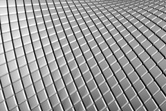 Abstract curve tiles aluminum background. With reflection 3d illustration Stock Photo
