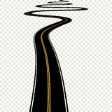 Abstract curved asphalt road  on transparent background. Vector road Royalty Free Stock Images