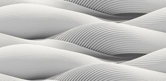 Abstract curved lines background. White lines, waves, curved surface illuminated by light. Seamless texture of abstract bionic forms. 3d rendering Royalty Free Stock Images