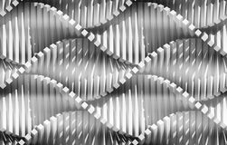 Abstract curved lines background. White lines, waves, curved surface illuminated by light. Seamless texture of abstract bionic forms. 3d rendering Stock Photography