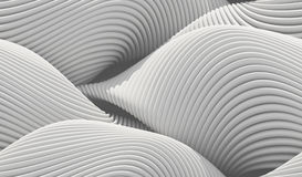 Abstract curved lines background. White lines, waves, curved surface illuminated by light. Seamless texture of abstract bionic forms. 3d rendering Stock Photo