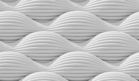 Abstract curved lines background. White lines, waves, curved surface illuminated by light. Seamless texture of abstract bionic forms. 3d rendering Stock Image