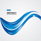 Abstract Curved lines, blue waves. Vector illustration   Royalty Free Stock Photo