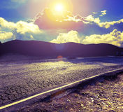 Abstract curved road and mountains.Travel car concept. Stock Image