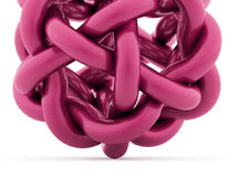 Abstract curved sphere from tube renderd on white background. Pink abstract curved sphere from tube renderd on white background vector illustration