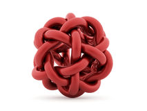 Abstract curved sphere from tube renderd on white background. Red abstract curved sphere from tube renderd on white background stock illustration