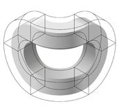Abstract curved vector shape. Isometric brand of scientific institution, research center, biological laboratories. Royalty Free Stock Photo