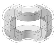 Abstract curved vector shape. Isometric brand of scientific institution, research center, biological laboratories. Royalty Free Stock Photography