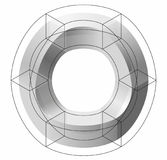 Abstract curved vector shape. Isometric brand of scientific institution, research center, biological laboratories. Royalty Free Stock Images