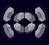 Abstract curved vector shape on black. Isometric brand of scientific institution, research center, biological laboratories. Royalty Free Stock Images