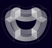 Abstract curved vector shape on black. Isometric brand of scientific institution, research center, biological laboratories. Stock Image