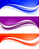 Abstract curved wavy lines set. In orange purple blue colors and elegant dynamic light style. Vector illustration stock illustration