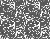 Abstract curvy shapes with dots white on dark gray vector illustration