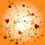Abstract cute background colorful leaves and hearts on soft orange background for love concept Royalty Free Stock Image