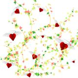 Abstract cute background colorful leaves and hearts on white background for love concept. Vector illustration Royalty Free Stock Photos