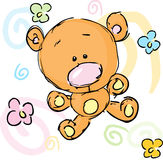 Abstract cute bear with floral background Royalty Free Stock Images