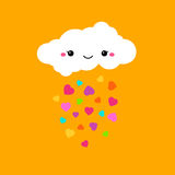 Abstract cute bright cartoon vector cloud. Raindrops of colorful Stock Photo
