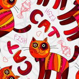 Abstract cute cat and fish illustration  Stock Images
