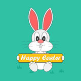 Abstract cute easter rabbit with banner Stock Photography