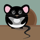 Abstract cute gray sad mouse. Nice character for kids illustration Stock Photos