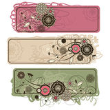 Abstract cute horizontal floral banners Royalty Free Stock Photography