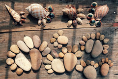 Abstract cute pebbles, footprint from boulder Royalty Free Stock Photos