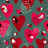 Abstract  Cute seamless pattern with chaotic painted Hearts. Valentine`s day vector texture. With hand drawn Hearts and with different lines, dots and shapes Royalty Free Stock Photos