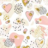 Abstract  Cute seamless pattern with chaotic painted Hearts. Valentine`s day vector texture. With hand drawn Hearts and with different lines, dots and shapes Stock Photography