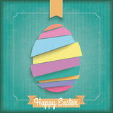 Abstract Cutting Easter Egg Vintage Frame. Vintage cover with ribbon and easter egg on the green background stock illustration