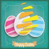 Abstract 3 Cutting Easter Eggs Vintage Frame. Vintage cover with ribbon and easter egg on the green background royalty free illustration