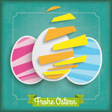 Abstract 3 Cutting Easter Eggs Vintage Frame Ostern Stock Photography