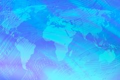 Abstract blue background on a musical theme with a map of the world. World music stock illustration