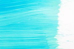Abstract brushed cyan hand painted acrylic background. Creative abstract hand painted background, close-up fragment of acrylic painting on paper with brush stock illustration
