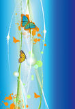 Abstract blue line background with butterfly Stock Image