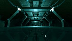 Abstract Cyan Sci Fi Futuristic Interior Design Corridor.3D Rendering. 3D rendering of abstract dark cyan sci fi futuristic space station or ship interior Stock Photos