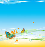 Abstract blue wave lines background. Abstract cyan wave lines background vector illustration
