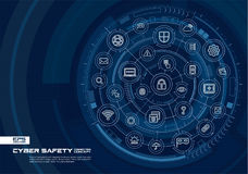 Abstract cyber security background. Digital connect system with integrated circles, glowing thin line icons. Virtual, augmented reality interface concept royalty free illustration