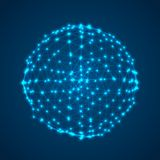 Abstract Cyber Sphere Mesh with Glowing Vertices Royalty Free Illustration