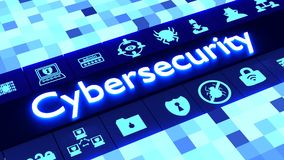 Abstract cybersecurity concept in blue with icons Royalty Free Stock Photo