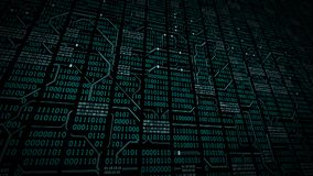 Abstract cyberspace with binary code, circuit board, matrix background with digits. Electronic computer digital technology background Royalty Free Stock Photo
