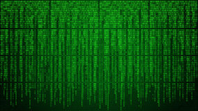 Abstract cyberspace with digital falling lines, binary hanging chain Royalty Free Stock Photos
