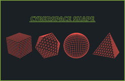Abstract Cyberspace Grid Landscape Background stock illustration