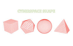 Abstract Cyberspace Grid Landscape Background Stock Photos
